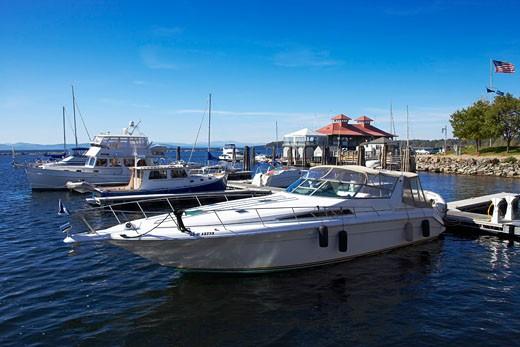 Stock Photo: 1828R-29209 Boats in Burlington Harbor, Lake Champlain, Burlington, Vermont, USA