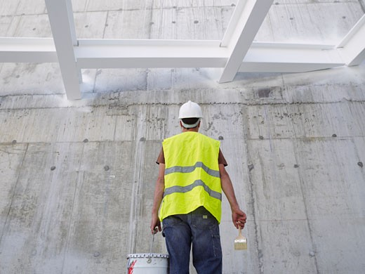 Stock Photo: 1828R-30081 Construction Worker With Paint