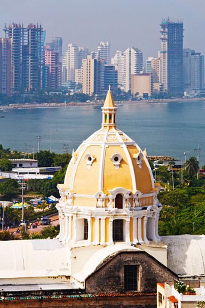 Stock Photo: 1828R-30117 Iglesia de San Pedro Claver and Bocagrande in Background, Cartagena, Colombia