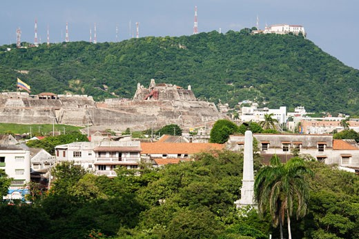 Stock Photo: 1828R-30126 Castillo de San Felipe de Barajas and Convento de la Popa, Cartagena, Colombia