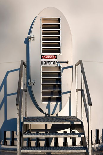 Stock Photo: 1828R-30934 Access Door to Wind Turbine, Melancthon Grey Wind Project, Shelburne, Ontario, Canada