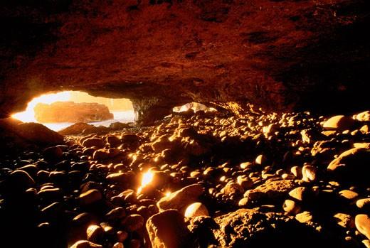 Sea Cave, Sombrio Beach Vancouver Island British Columbia, Canada    : Stock Photo
