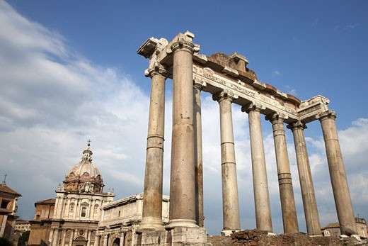 Stock Photo: 1828R-31454 Temple of Saturn and the Curia Julia, Rome, Italy