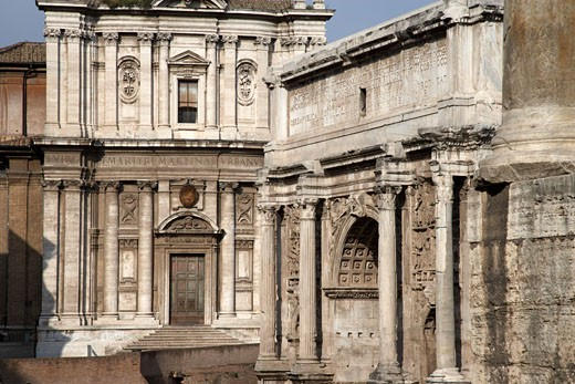 Stock Photo: 1828R-31455 Arch of Septimius Severus and Curia Julia, Rome, Italy