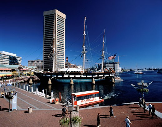 Stock Photo: 1828R-3147 Baltimore's Inner Harbour, USS Constellation, Baltimore Maryland, USA