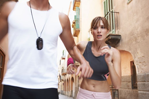 Man and Woman Jogging    : Stock Photo