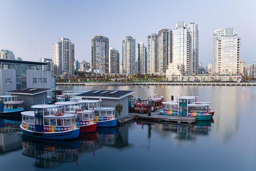 Stock Photo: 1828R-31904 Waterbusses at Dock, False Creek, Vancouver, British Columbia, Canada