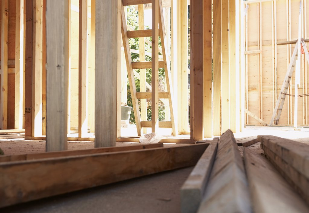 Stock Photo: 1828R-32253 Frame of New Home