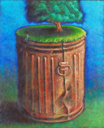 Tree Growing Out of Garbage Can with Man Sitting on Rim    : Stock Photo