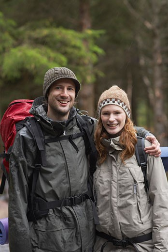 Couple Backpacking    : Stock Photo