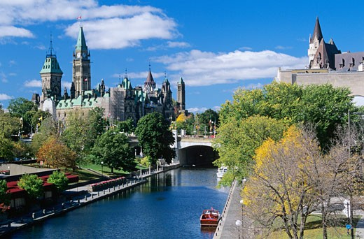 Stock Photo: 1828R-33174 Overview of Rideau Canal, Ottawa, Ontario, Canada
