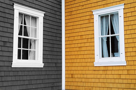 Stock Photo: 1828R-33178 Windows of Houses, Quebec, Canada