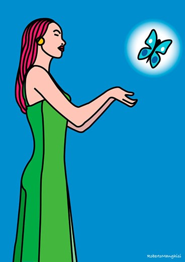 Stock Photo: 1828R-33201 Illustration of Woman With Butterfly