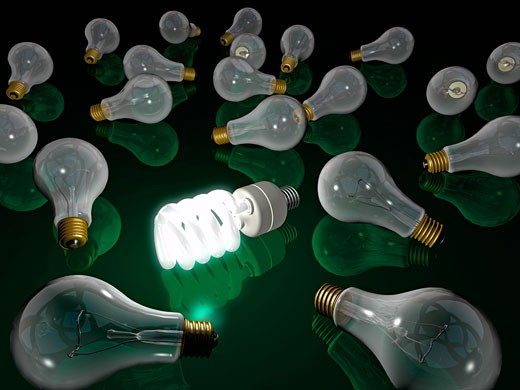 Stock Photo: 1828R-33549 Energy Efficient Lightbulb