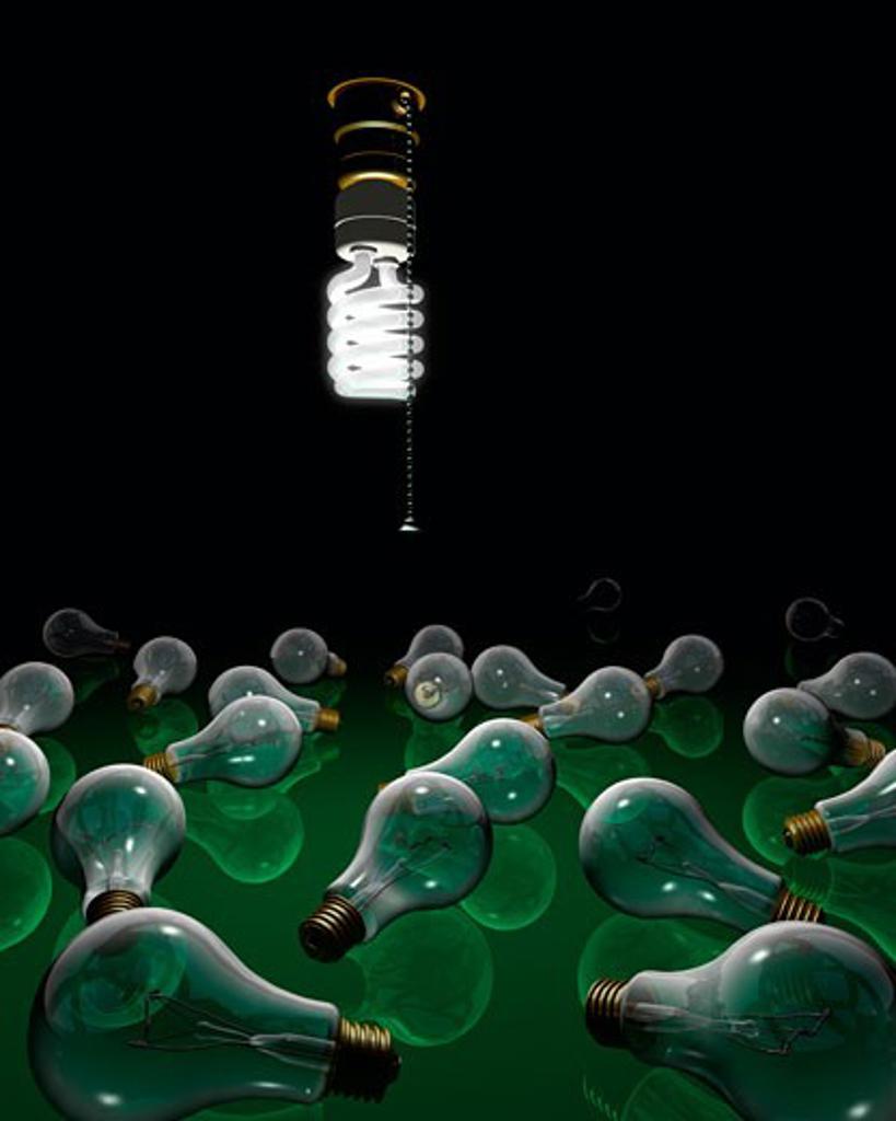Stock Photo: 1828R-33551 Energy Efficient Lightbulb