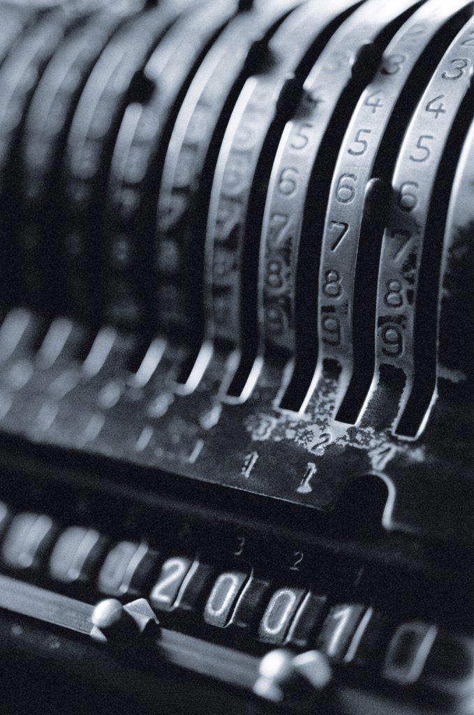 Stock Photo: 1828R-3356 Close-Up of Antique Adding Machine