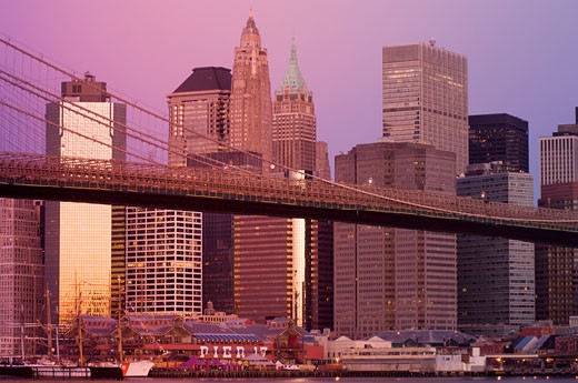 Brooklyn Bridge, Brooklyn, New York City, New York, USA    : Stock Photo