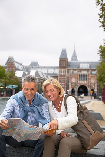 Couple at Rijksmuseum, Amsterdam, Netherlands    : Stock Photo
