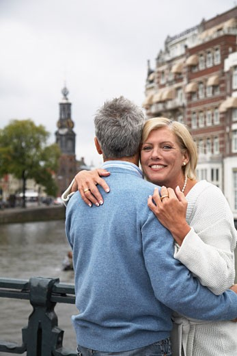 Stock Photo: 1828R-33964 Couple Hugging, Amsterdam, Netherlands