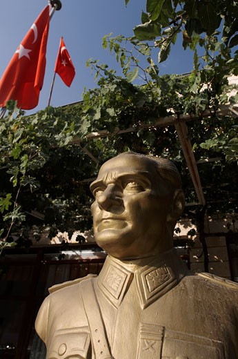 Stock Photo: 1828R-34190 Bronze Statue of Ataturk, Cappadocia, Turkey