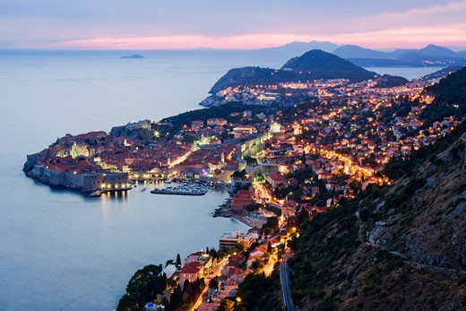 Old City of Dubrovnik at Dusk, Croatia    : Stock Photo