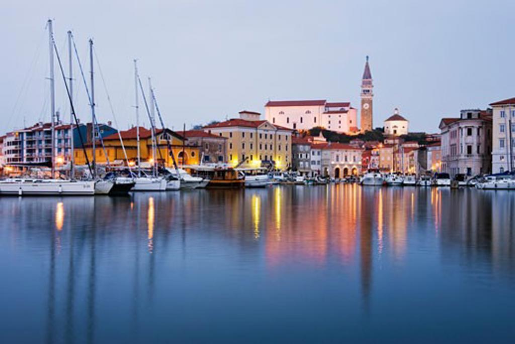 Stock Photo: 1828R-34508 Town of Piran at Dusk, Slovenia
