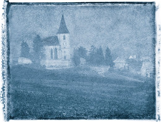Stock Photo: 1828R-3476 Vineyard and Church France