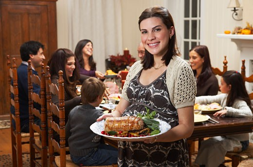 Woman with Food for Family Dinner    : Stock Photo