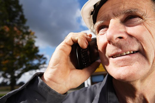 Stock Photo: 1828R-34862 Construction Worker with Cellular Phone