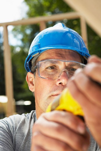 Stock Photo: 1828R-34869 Construction Worker Working
