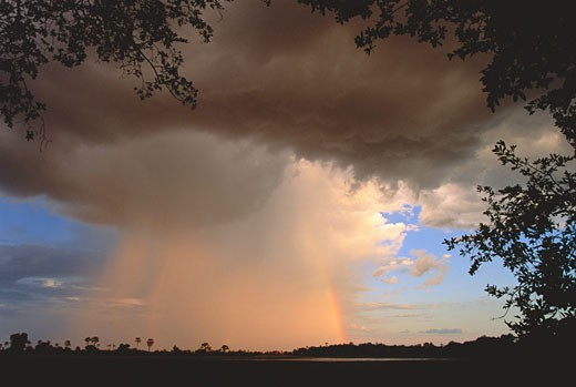 Stock Photo: 1828R-3574 Storm Cloud and Rainbow