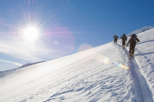 Stock Photo: 1828R-35758 Skiers on Mountainside, Selkirk Mountains, British Columbia, Canada