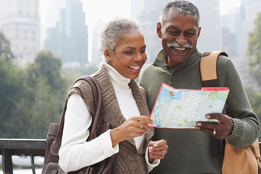 Stock Photo: 1828R-35785 Couple in City with Map, New York City, New York, USA
