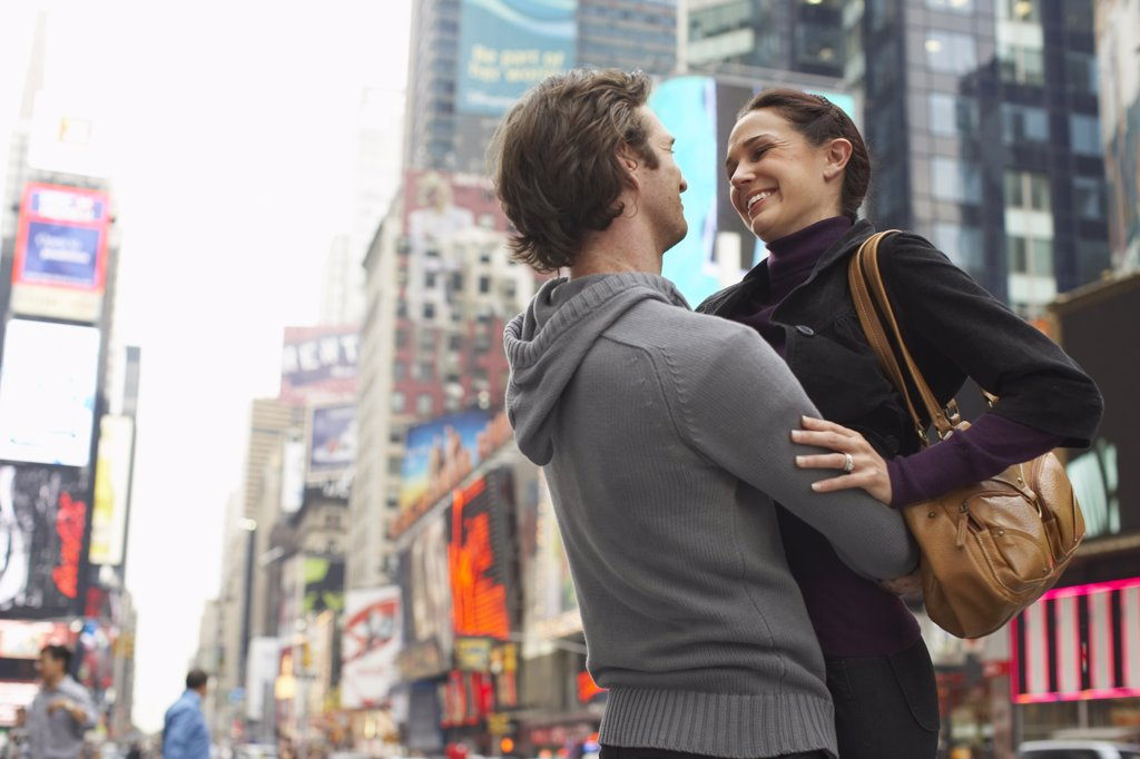 Stock Photo: 1828R-35843 Couple Hugging in City, New York City, New York, USA