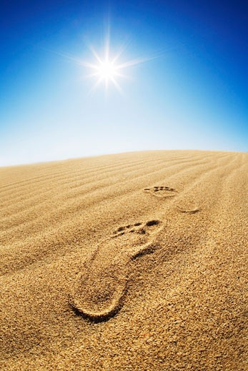 Stock Photo: 1828R-35956 Footprints in Desert Sand
