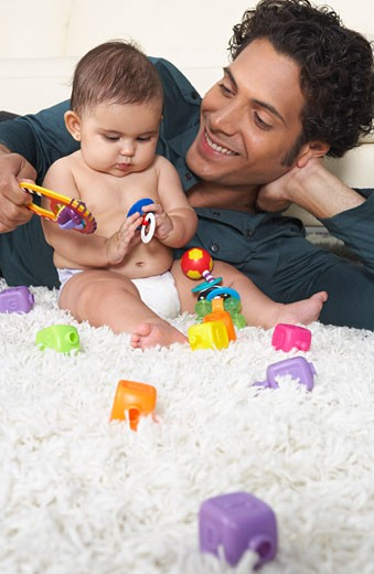 Father Playing With Baby : Stock Photo