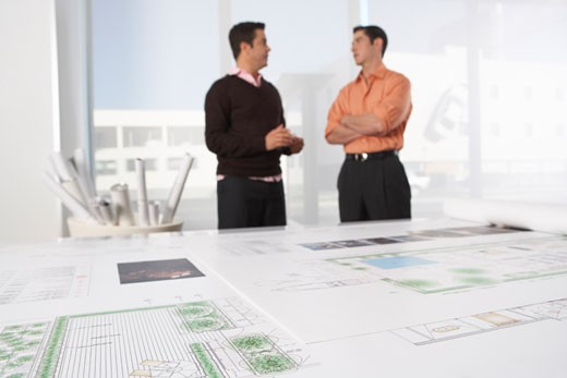 Stock Photo: 1828R-36479 Architects with Blueprint