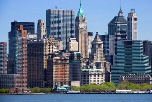 Stock Photo: 1828R-36966 Lower Manhattan Skyline, Battery Park, New York City, New York, USA
