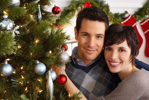 Stock Photo: 1828R-37417 Portrait of Couple at Christmas