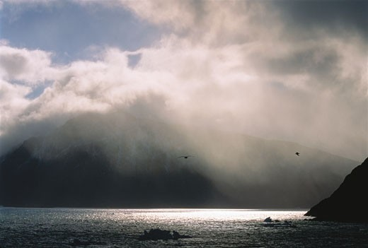 Stock Photo: 1828R-3756 Clouds Over Grise Fiord Ellesmere Island, Nunavut Canada