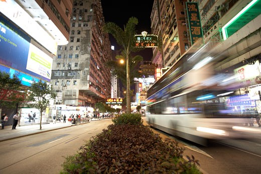 Stock Photo: 1828R-37737 Nathan Street at Night, Kowloon, Hong Kong, China