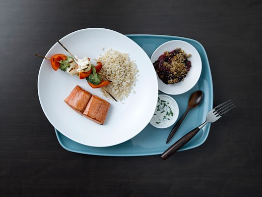 Stock Photo: 1828R-37929 Salmon Dinner on Tray