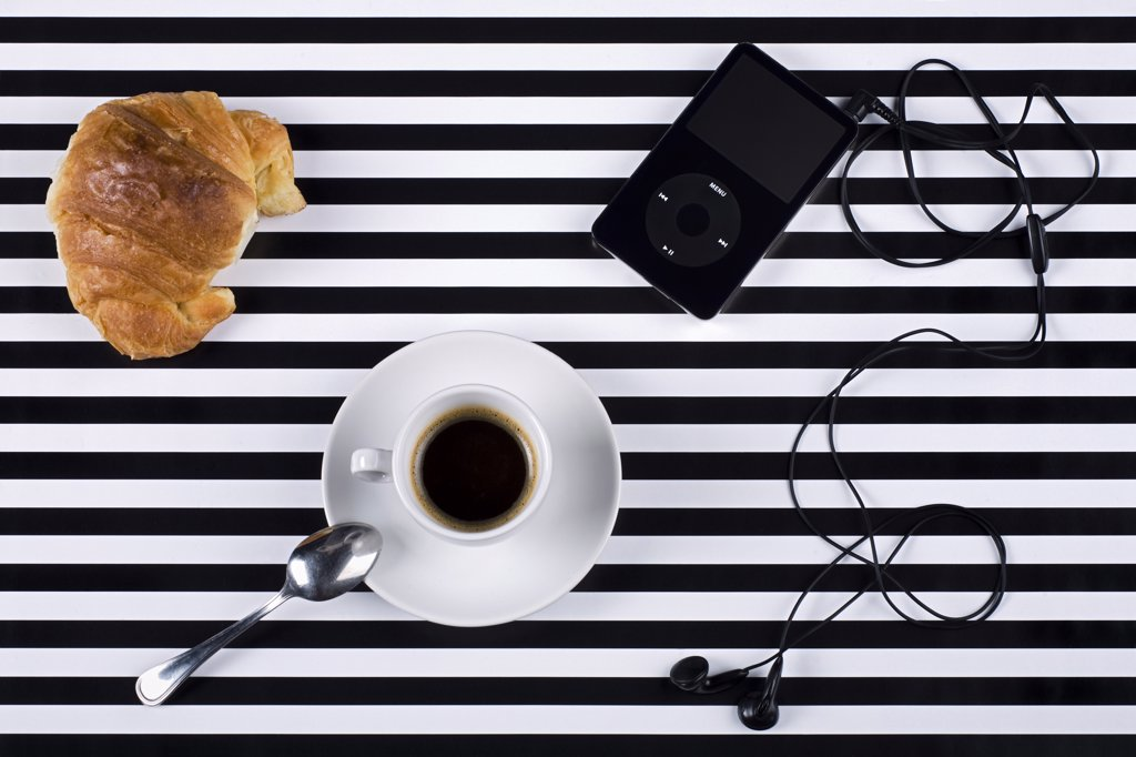 Coffee, Croissant and Mp3 Player    : Stock Photo