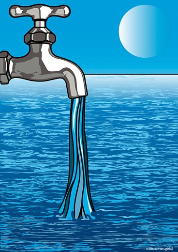 Stock Photo: 1828R-38122 Illustration of Water Flowing from Faucet to Ocean