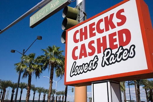 Stock Photo: 1828R-38541 Checks Cashed Sign on St Louis Avenue, Las Vegas, Nevada, USA