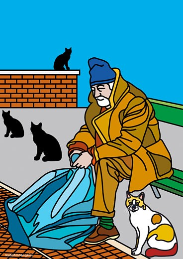 Stock Photo: 1828R-38612 Illustration of Homeless Man Surrounded by Cats