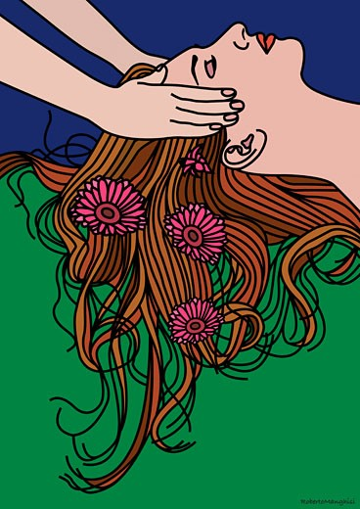 Illustration of Woman Getting a Massage    : Stock Photo