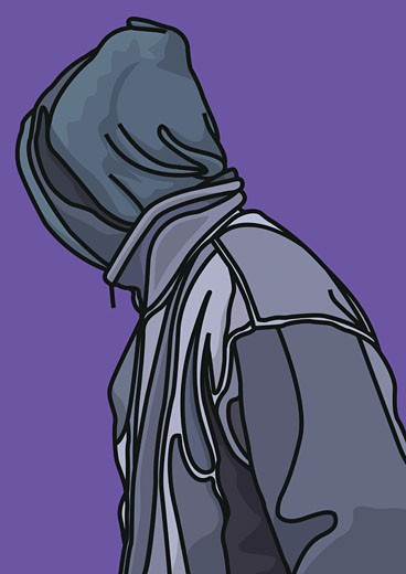 Stock Photo: 1828R-38625 Illustration of Hooded Man
