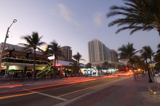 Traffic on Street at Evening, Fort Lauderdale, Florida, USA    : Stock Photo