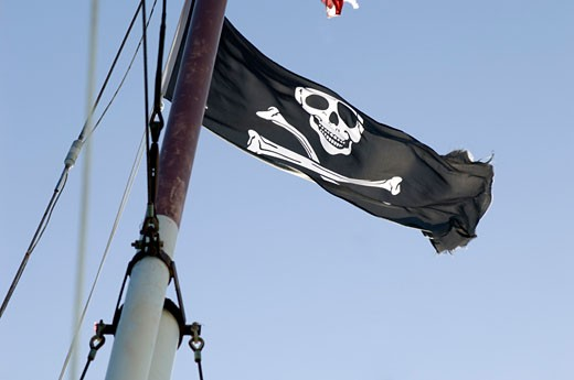 Pirate Flag on Ship Mast    : Stock Photo